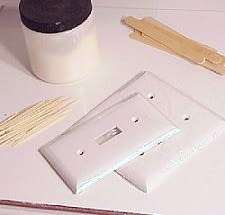you need some supplies to create the fancy light switch cover liquid sculpey tls toothpicks qtips plastic switchplate covers and pastel